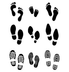 Prints feet and shoes vector