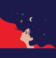 Profile a girl with he hair full stars vector