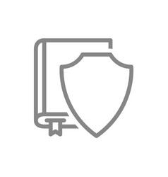 protective shield and book line icon protection vector image