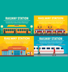 Railway station banner set flat style vector