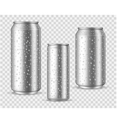Realistic cold cans silver or aluminium metal vector