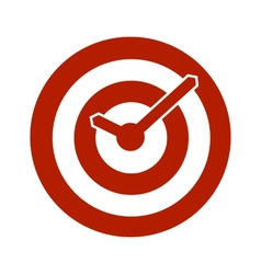 Red target conceptual clock icon vector
