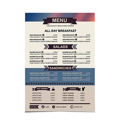 restaurant menu template design vector image