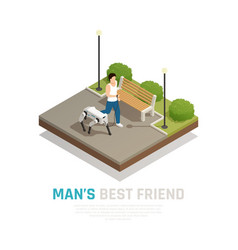 Robot dog isometric composition vector