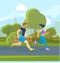 Runners in the city park urban lifestyle vector