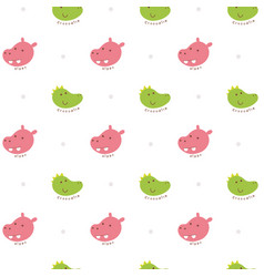 seamless pattern crocodile and hippo vector image