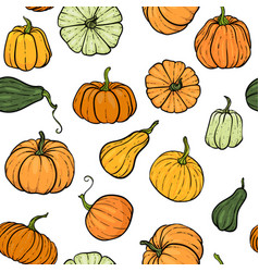 seamless pattern with hand drawn pumpkin in vector image
