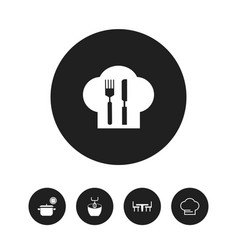 Set of 5 editable restaurant icons includes vector