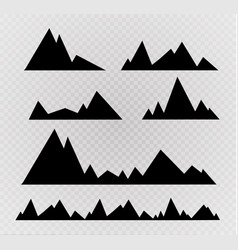 set of black and white mountain silhouettes vector image