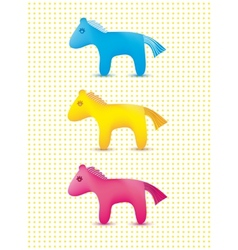 Set of colorful cute toy horses icons vector
