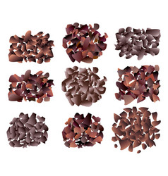 set of sweet dark chocolate bar crumb piles vector image