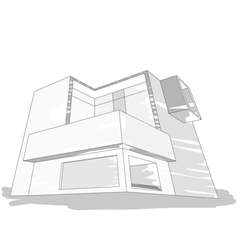 Sketch house gray color vector