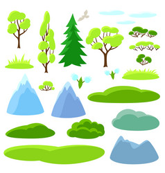 Spring set trees mountains and hills seasonal vector