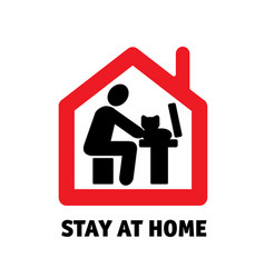 Stay home remote work computer with cat icon sign vector