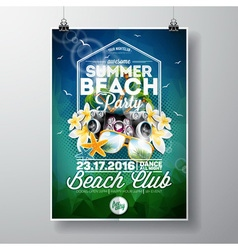 Summer Beach Party Flyer Design with flowers vector image