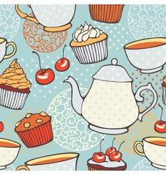 Tea time hand drawn seamless pattern Decorative vector
