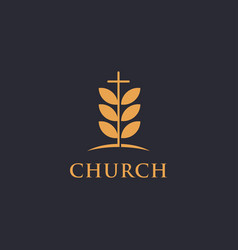 Tree leaf and cross church logo icon template vector