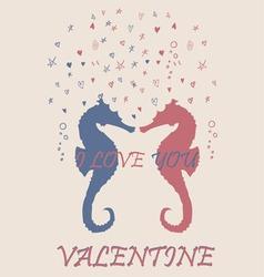 Valentine sea horse pink blue retro vintage vector