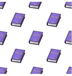 violet book icon in cartoon style isolated on vector image