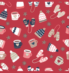 Winter elements warm clothes cookies and mugs vector