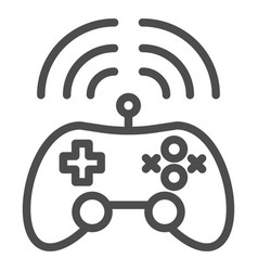 Wireless game controller line icon joypad vector