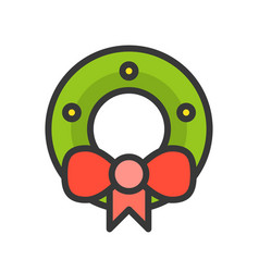 Wreath christmas related filled style icon vector