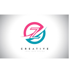 Z letter design logo icon with circle and swoosh vector