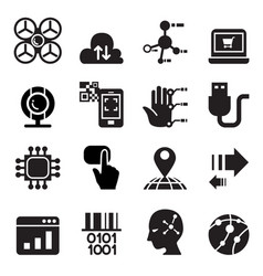 computer electronic technology icon set vector image vector image