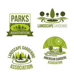 icons for landscape gardening company vector image vector image