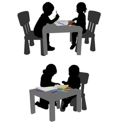 kids drawing and coloring with crayons vector image vector image