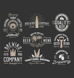 set emblems with beer objects vector image vector image