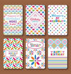Set of bright happy birthday invitation cards vector image