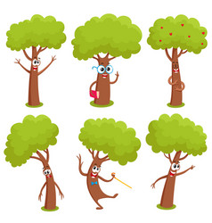 set of funny comic tree characters showing various vector image
