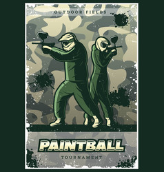 vintage colorful paintball club poster vector image vector image