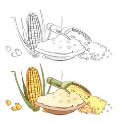 corn porridge sketch coloring page vector image