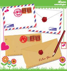 Love envelope - Valentine Scrapbook Elements vector image vector image
