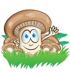 mushroom cartoon on forest background vector image vector image