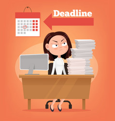 sad unhappy angry office worker woman thinking vector image vector image