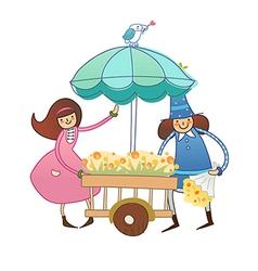 Boy and Girl near flower cart vector image vector image