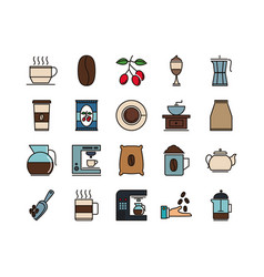 coffe and tea beverage icon pack vector image