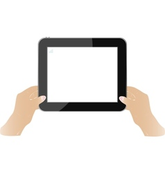 Hands holding touch screen tablet pc with blank vector image vector image