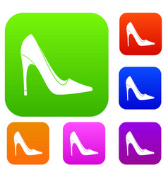 high heel shoe set color collection vector image vector image