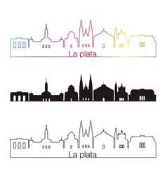 La plata skyline linear style with rainbow vector