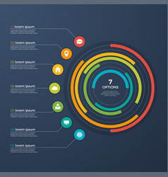 presentation infographic circle chart 7 options vector image vector image