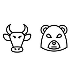 stock market bulls and bears thin line icon vector image