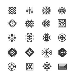 traditional tribal mexican symbols navajo ethnic vector image vector image