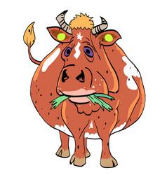 cartoon image of cow vector image