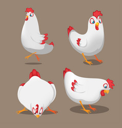 Chicken animal cartoon pose set vector