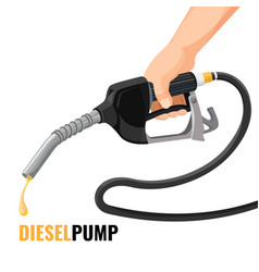 diesel pump promotional poster with fuel nozzle in vector image