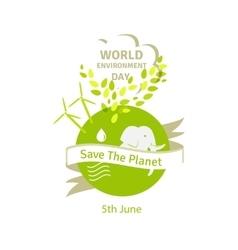 Earth globe green leaves and alternative energy vector image